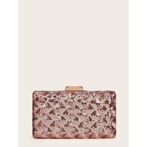 Rose Gold Sequin Geometric Evening Clutch Bag